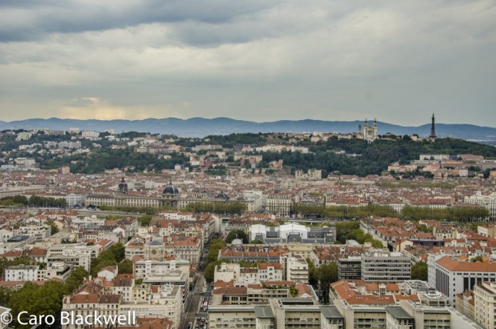 View over Lyon from the 32nd floor of The Radisson Blu - Europe's tallest hotel