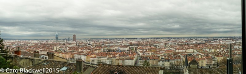 Views over the city of Lyon from the dining room at Tatedoie