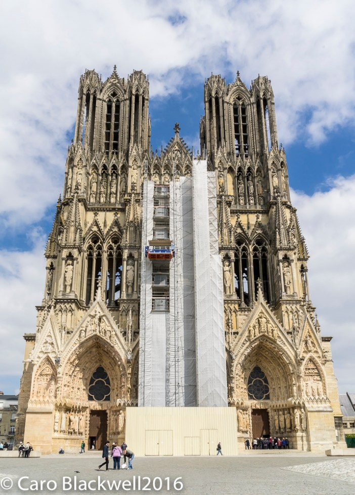 The front of The Notre Dame Cathedral in Reims