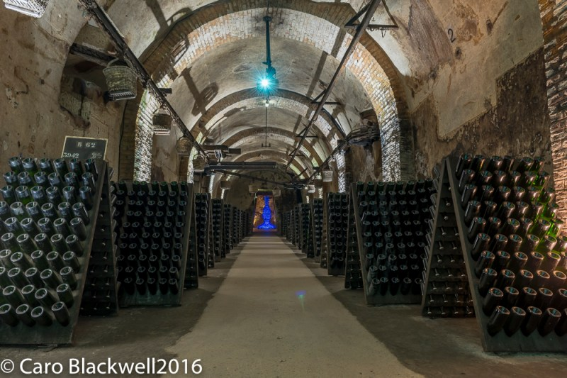 One of the many passages in the cellars, showing the baskets on the ceiling that used as a method of transport. At the end of the passage is an art installation made up entirely of blue bottles