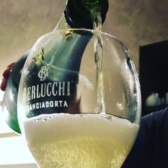 Santé - a chilled glass of sparkling Italian wine - Berlucchi Franciacorta