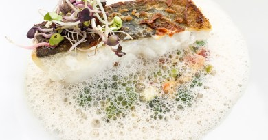 wild cod served with semoule (polenta) and vegetables in a foam emulsion
