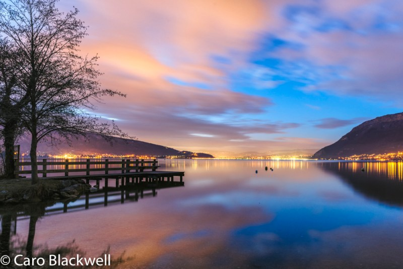 Annecy lake by night