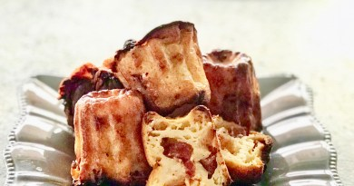 Canelés with chorizo and Beaufort Cheese