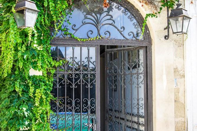Gorgeous Wrought Iron Gates to the enclosed garden at Chez Castillon