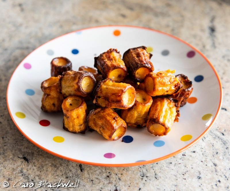 Bite size Canelés with Chorizo and Beaufort