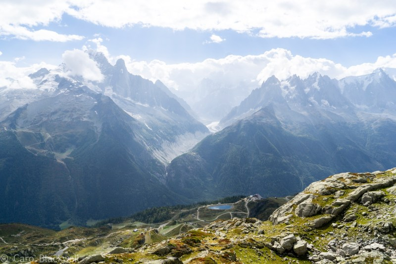 Looking down to Flegere and over The Mer de Glace glacier