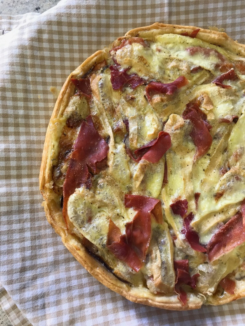 Reblochon, Sweet Potato and Jambon de Savoie Tart recipe from Taste of Savoie