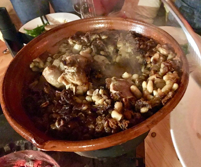 Serving the Cassoulet and finding all the slow cooked pieces of meat inside