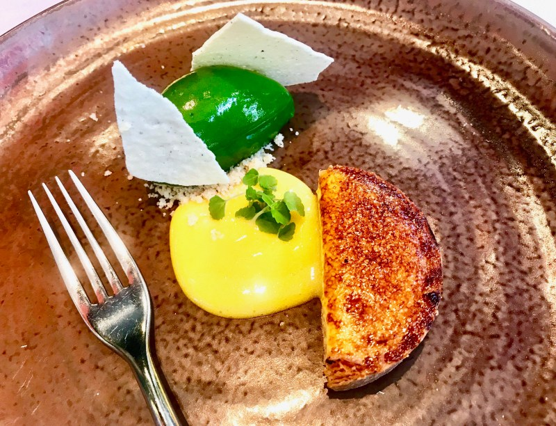 Dessert at Le Flacon - fresh lemon tart with a basil sorbet and a Limoncello sabayon.