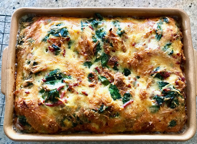 Savoury Croissant Bake made with leftover croissants