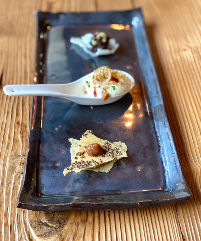 Delicious Canapes - Foie Gras with feuille de brick crisp, spiced apple. Home smoked raclette mousse with house mangalitza pancetta, sourdough croutons, pickled shallot. Szechuan beef cheek with wasabi mayo, rice cracker