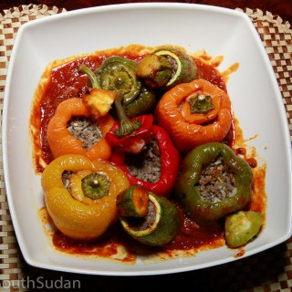 Mahshi, stuffed zucchini and bell peppers