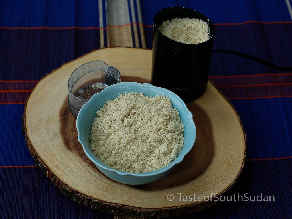 Grind sesame seeds using a spice grinder, for making Basico. Taste of South Sudan, South Sudan food, Sudanese recipe, African food, Egusi seeds