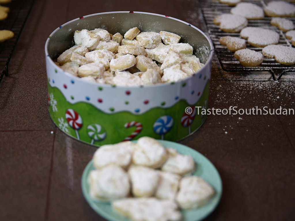Sudanese Kahk - Sugar Coated Cookies. Christmas Cookies, Kahk el eid, Eid Cookies, Middle Eastern Dessert. South Sudan Kahk, Middle Eastern Dessert, Ramadan desserts, Taste of South Sudan.