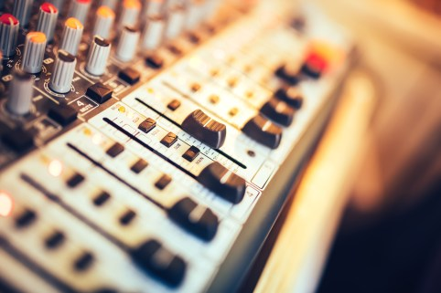 Close-up Of Music Mixer Button, Setting Volume. Music Production