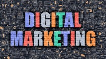 Digital Marketing. Multicolor Inscription on Dark Brick Wall with Doodle Icons. Digital Marketing Concept in Modern Style. Doodle Design Icons. Digital Marketing on Dark Brickwall Background.