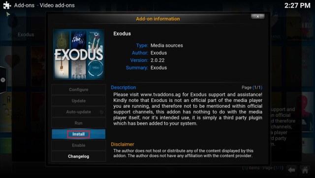 instaliranje exodus plugina korak 9