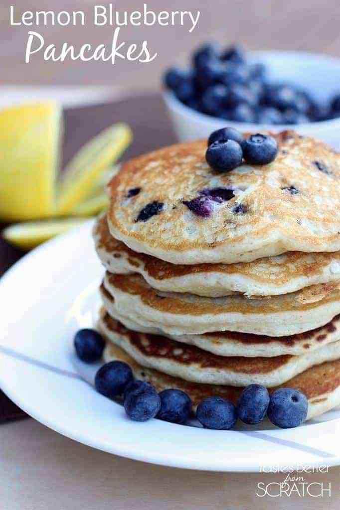 Lemon Blueberry Pancakes from TastesBetterFromScratch.com