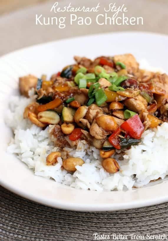 Restaurant Style Kung Pao Chicken recipe from TastesBetterFromScratch.com