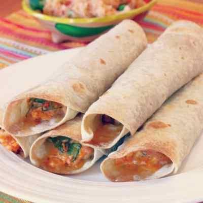 Baked Chicken & Spinach Flautas