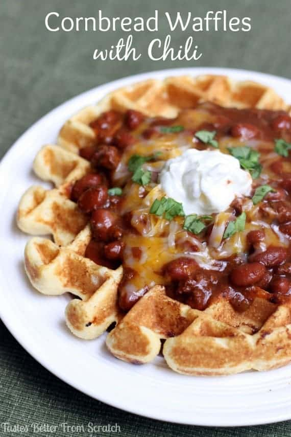Cornbread Waffles with Chili recipe from TastesBetterFromScratch.com