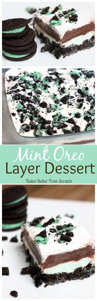 Mint Oreo Layer Dessert on TastesBetterFromScratch.com