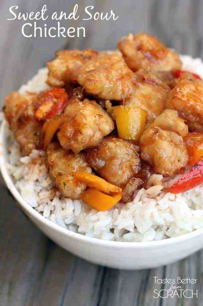 Sweet and Sour Chicken recipe from TastesBetterFromScratch.com