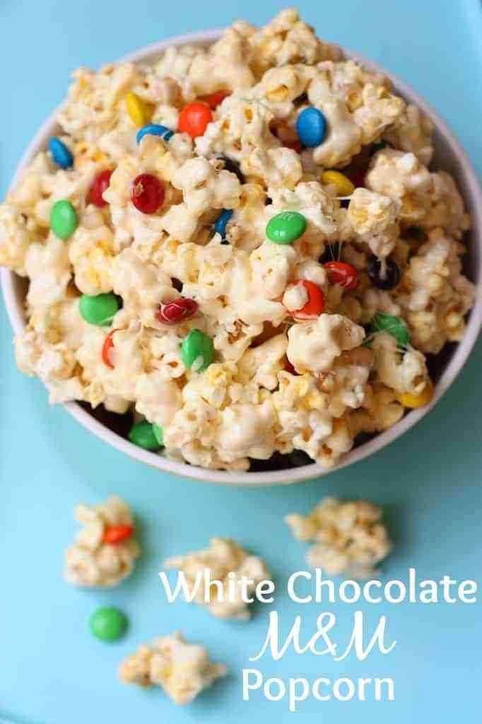 White Chocolate M&M Popcorn recipe from TastesBetterFromScratch.com