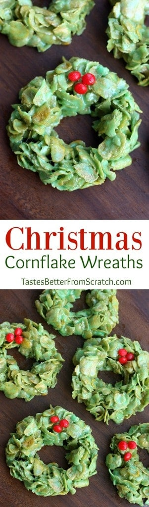Christmas Cornflake Wreaths are one of my favorite easy Christmas treats! | Tastes Better From Scratch