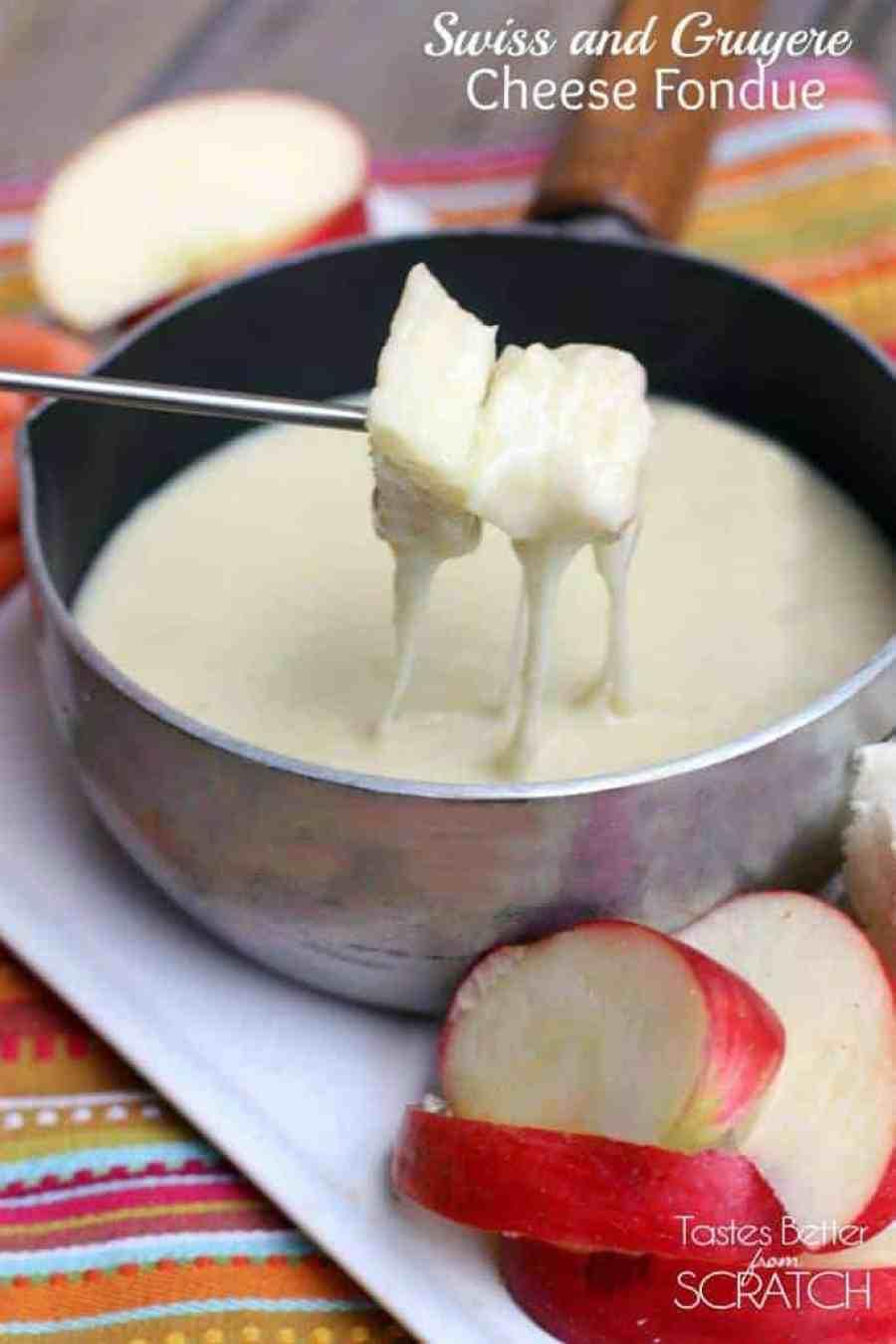 Swiss and Gruyere Cheese Fondue recipe on TastesBetterFromScratch.com
