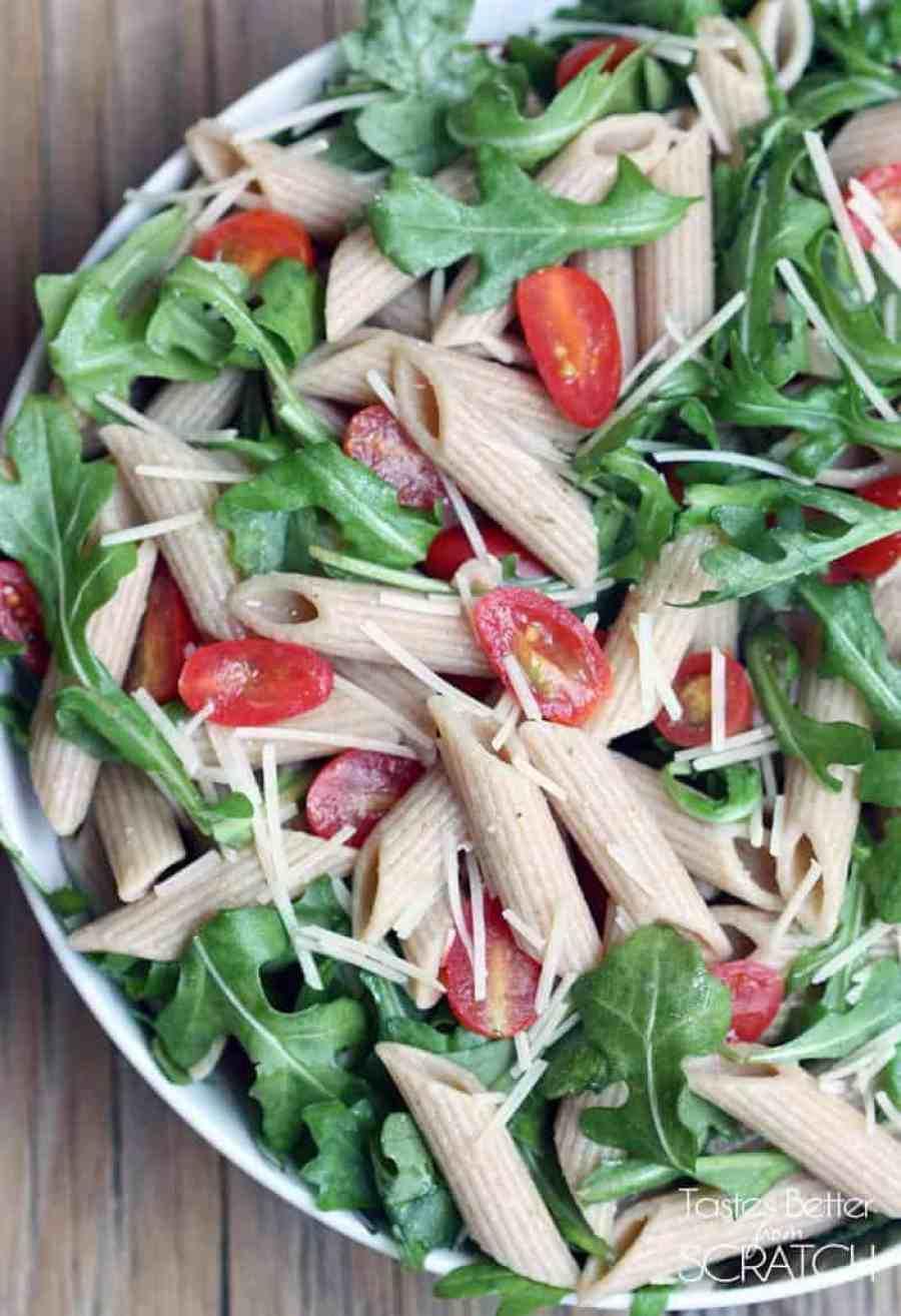Arugula Pasta Salad recipe on TastesBetterFromScratch.com