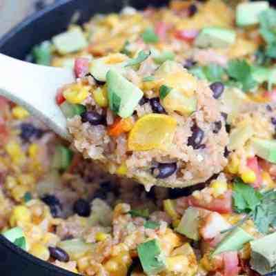 One Pan Veggie Burrito Bowl