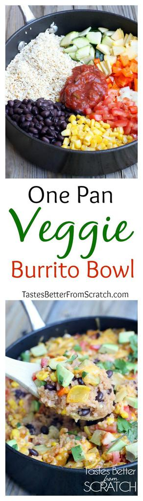 One Pan Veggie Burrito Bowls on TastesBetterFromScratch.com