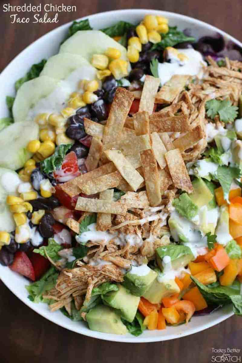 Shredded Chicken Taco Salad from TastesBetterFromScratch.com