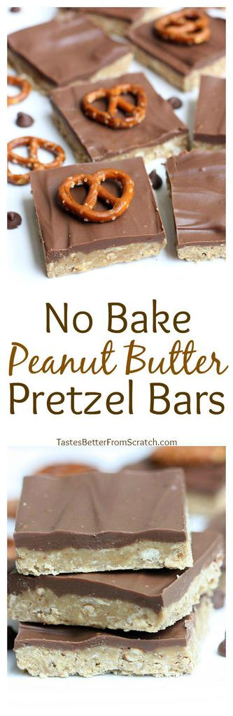Delicious NO BAKE Peanut Butter Pretzel Bars! The perfect sweet/salty treat! Recipe on tastesbetterfromscratch.com