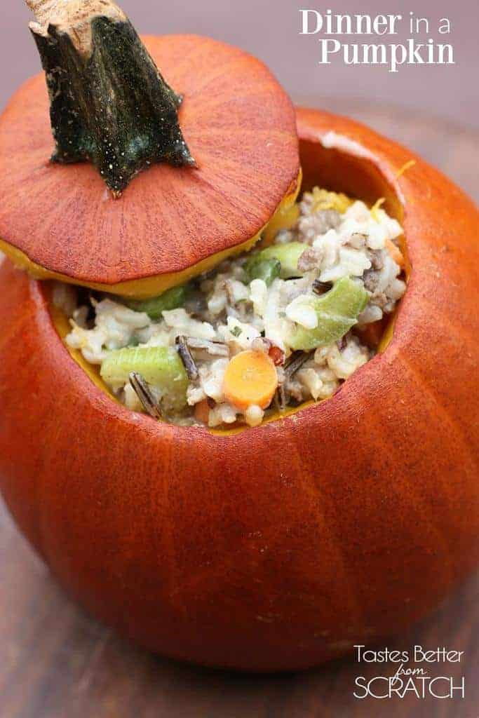 Dinner in a Pumpkin-- a delicious, hearty rice casserole baked inside a delicious pumpkin!