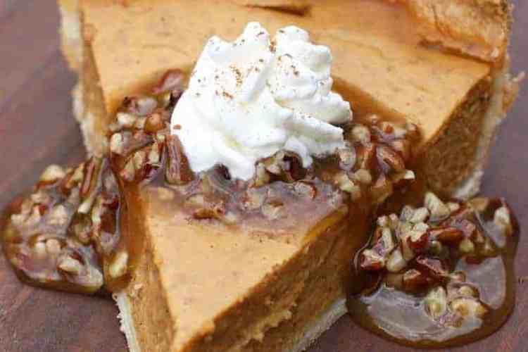 Pumpkin Pie with Caramel Pecan Topping