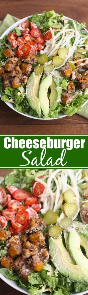 My family loves this Cheeseburger Salad. All of our favorite burger toppings layered onto a delicious, hearty salad.   Tastes Better From Scratch