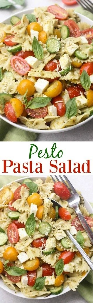 Pesto Pasta Salad with fresh tomatoes and mozzarella cheese. An easy summer side dish with only 5 ingredients! | Tastes Better From Scratch