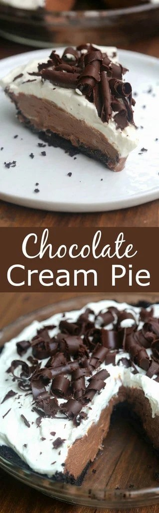Chocolate Cream Pie - amazing homemade chocolate pudding layered inside an oreo pie crust and topped with sweetened whipped cream and chocolate curls | Tastes Better From Scratch