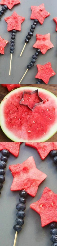 Fruit Sparklers made with watermelon stars and blueberries | Tastes Better From Scratch