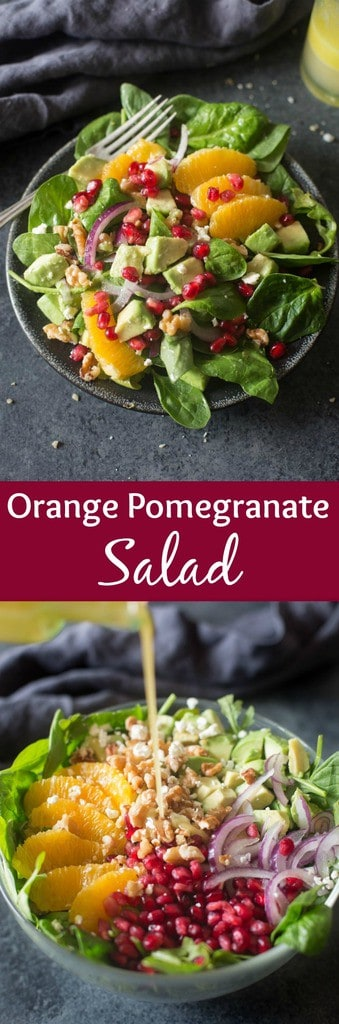 This Orange Pomegranate Salad is the perfect easy holiday side dish. Layered with sweet pomegranate arils, avocados, fresh oranges, thinly sliced onions, toasted walnuts and feta cheese. It has the perfect crunch and sweetness to accompany any dinner!| Tastes Better From Scratch