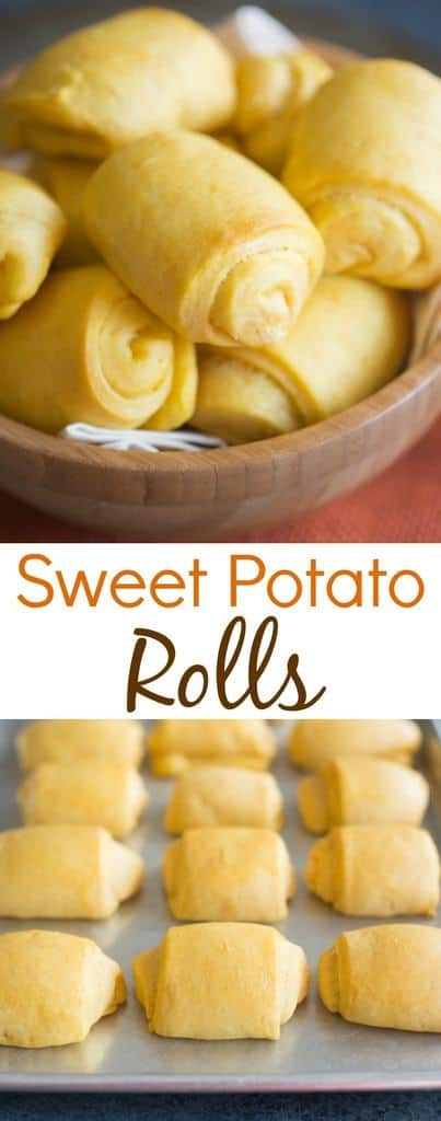 Light and fluffy Sweet Potato Rolls perfect for a warm fall dinner or Thanksgiving side dish, served with cinnamon honey butter! | Tastes Better From Scratch