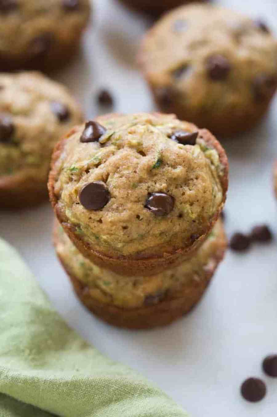Light and moist chocolate chip zucchini muffins. We LOVE this easy muffin recipe. | tastesbetterfromscratch.com