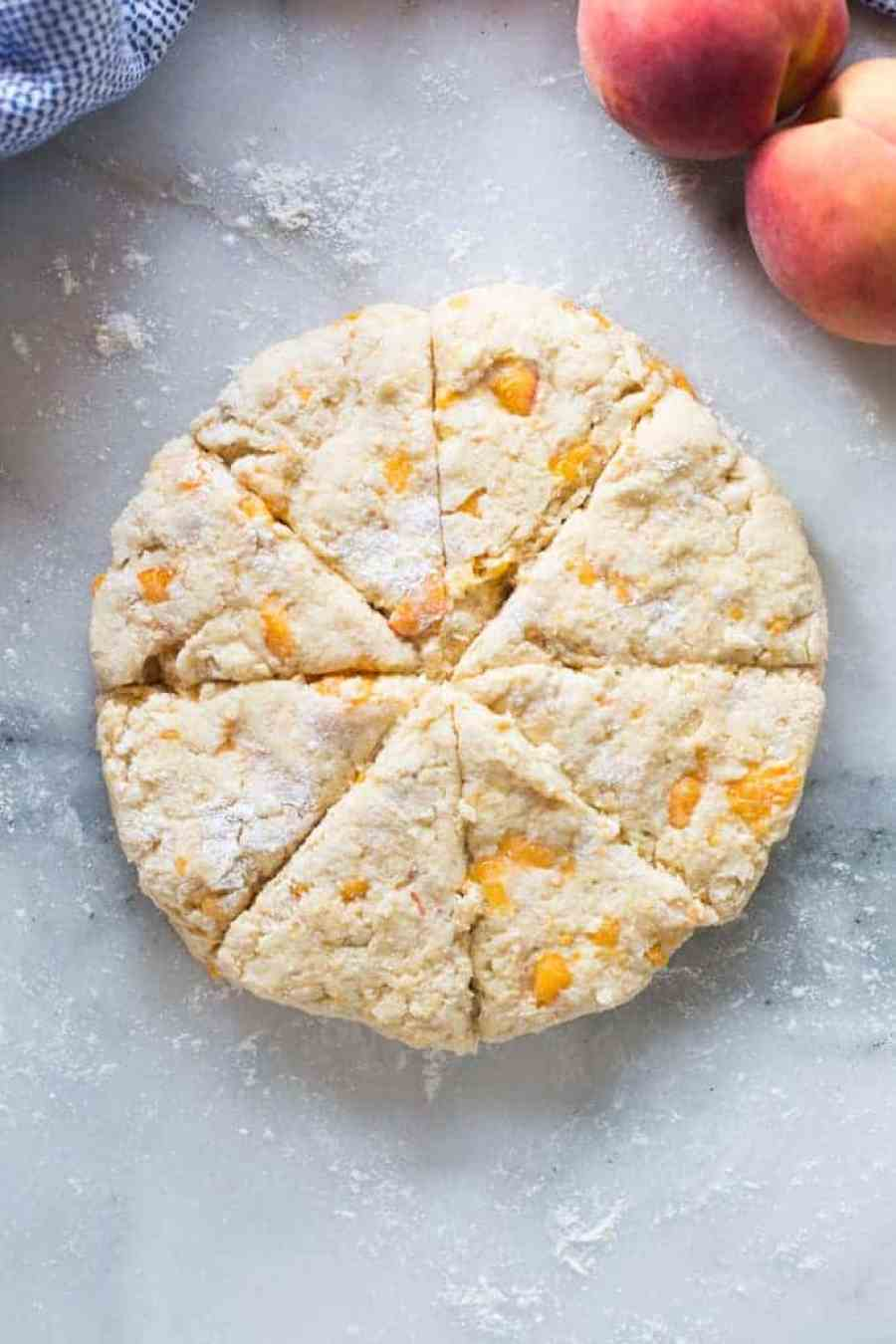 The most amazing Peach Scones! This easy homemade scones recipe is delicious!  tastesbetterfromscratch.com