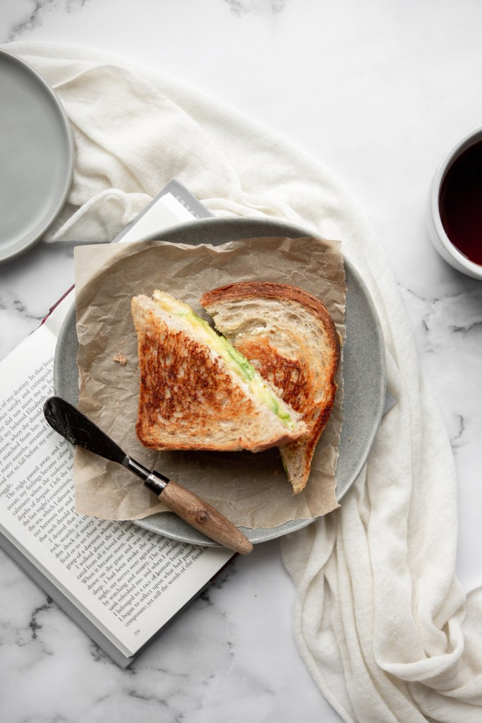 sandwich photography  avocado and Boursin grilled cheese