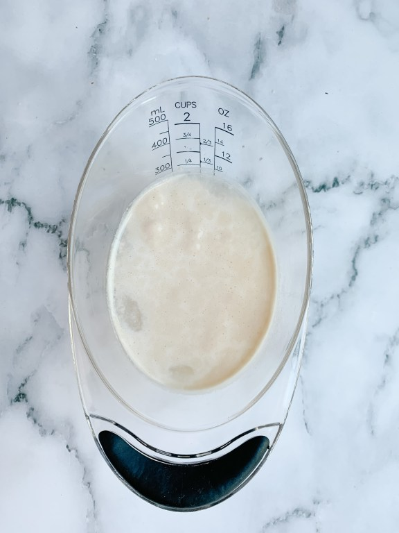 bubbling yeast in a measuring cup