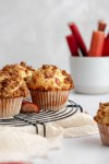 rhubarb crumble muffin from the side