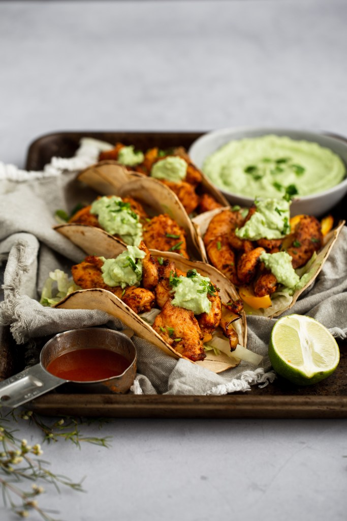 chicken tacos on a pan